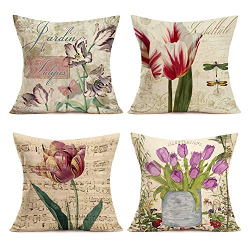 (Throw Pillow Covers Set of 4 Cotton Linen Vintage Tulip Flower Dragonfly with Words Decorative Farmhouse Pillow Cover Summer Spring Pillowcase Cushion Covers 18 x 18 inches (Retro Flower Set))