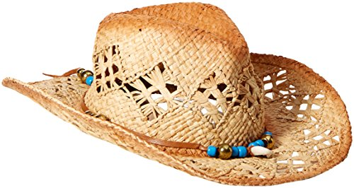 ale by alessandra Women's Waimea Raffia Cowboy Hat With Beaded Leather Trim