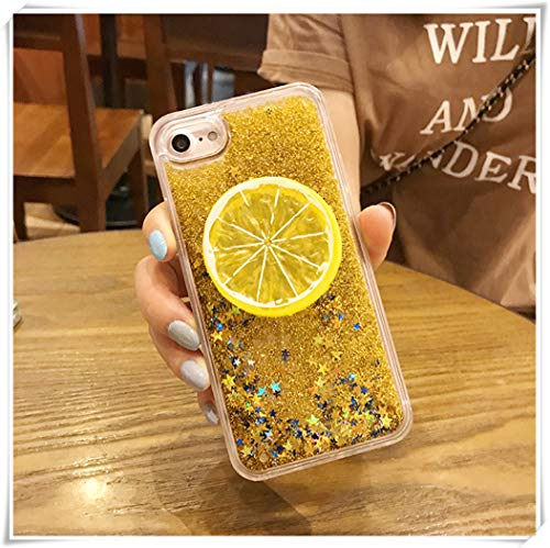 One Life ,one jewerly Cellphone Shell, Dazzling Color Quicksand Cellphone Shell, Lemon Soft Shell All Wrapped Edge,Sequins Lemon Quicksand Fashion Cellphone Shell (Golden, LG G6) ()