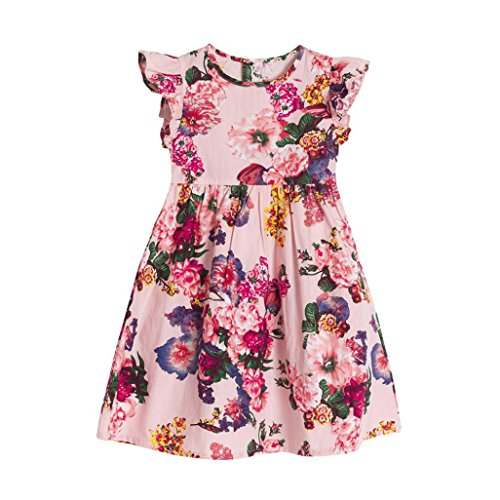 vermers Hot Sale Baby Girls Kids Dresses - Infant Toddler Floral Sleeveless Party Clothes Princess Dress(6T, Pink) (Apparel Collection Infant)