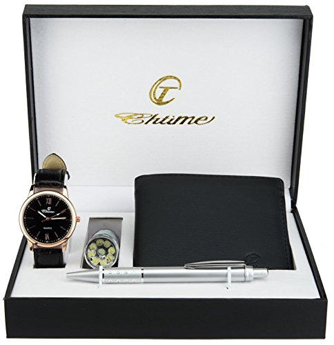 (Gift Set Men's Watch Black Gold LED Lamp LED - Pen)