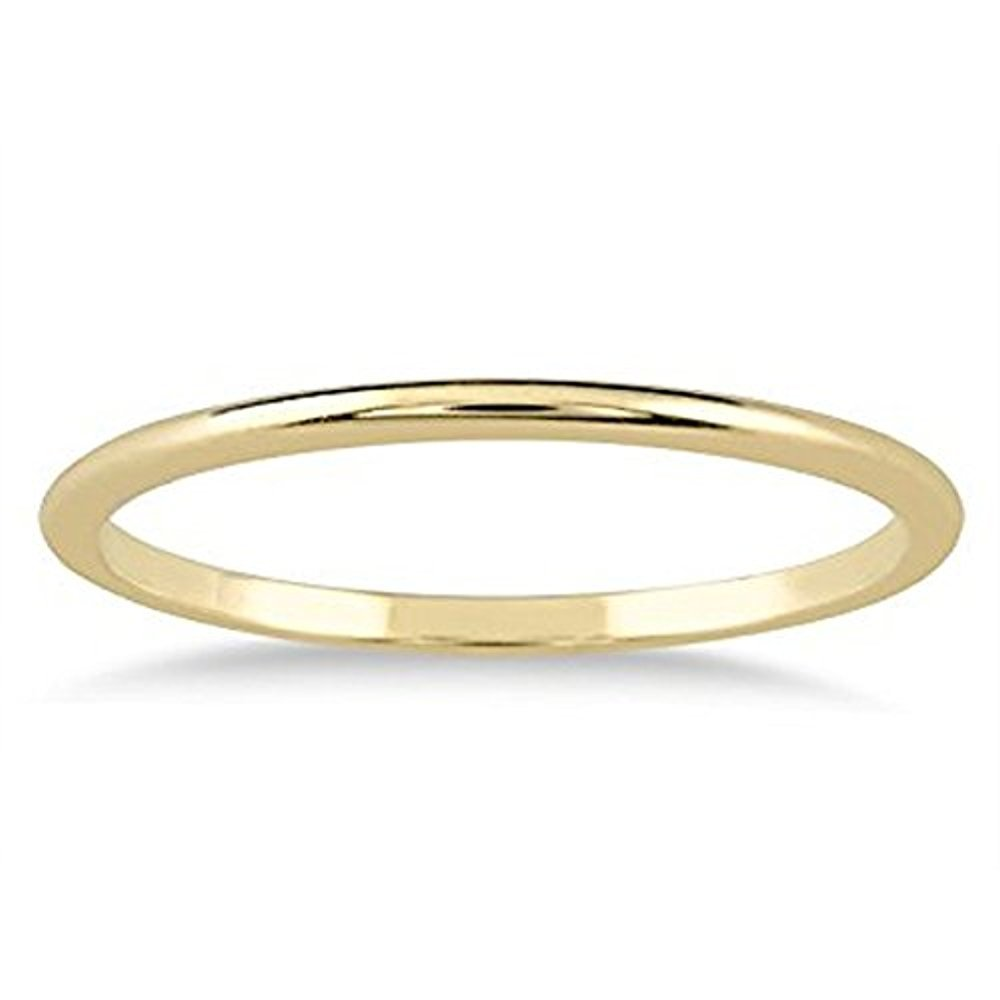1mm Thin Plain Comfort Fit Domed Wedding Band Ring in 14k Yellow Gold Over 925 Sterling Silver (10.5)