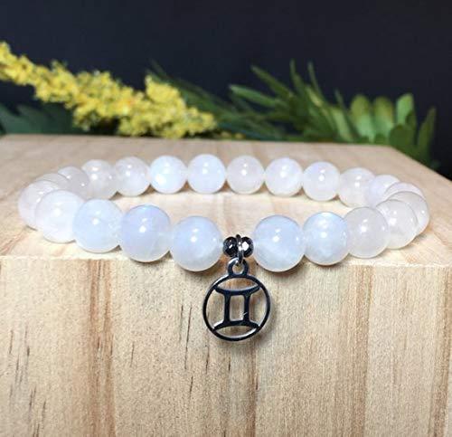 Gemini Zodiac Bracelet, Rainbow Moonstone Bracelet, Gemini Gemstone Bracelet, Gemini Astrology Bracelet, Gift For Her, Gift For Him ()