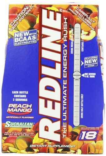 VPX RedLine RTD Peach Mango, 8oz  Bottles (Pack of 24)