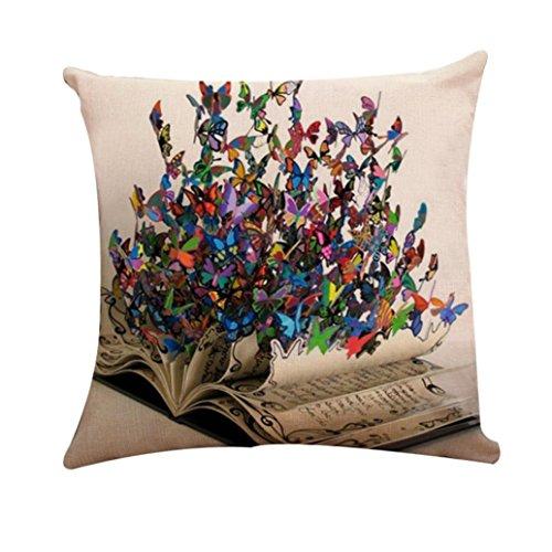 Iuhan Throw Pillow Case Cushion Cover, Girl Butterfly Cotton Linen Pillow Sofa Case Waist Throw Cushion Cover Home Decor 18