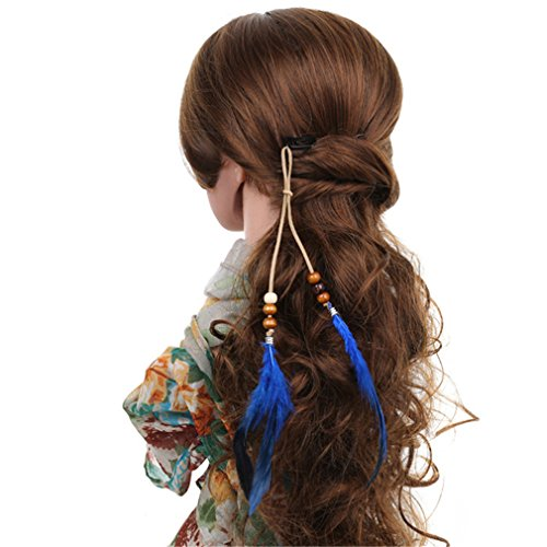 Price comparison product image Astral Long Rope Feather Hair Extensions Clip Beaded Feather Head Piece Headdress Blue