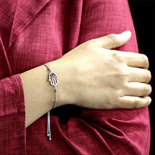 La Joya 1/10ct Round White Diamond Blue Sapphire Sterling Silver Adjustable Hamsa Strand Bolo Bracelet Mothers Day Jewelry Gift by La Joya (Image #1)