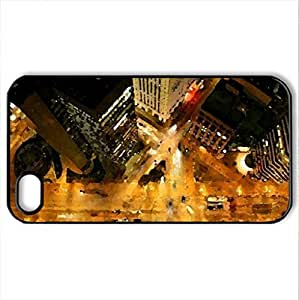 aerial view down a skyscraper at night - Case Cover for iPhone 4 and 4s (Skyscrapers Series, Watercolor style, Black)