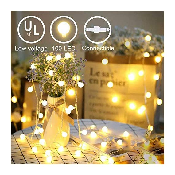 LED Globe String Lights twinkle lights ,Plug in Fairy Lights,49Ft 100 LED String Light, Waterproof, Perfect for Indoor Outdoor Wedding Birthday Party with 30V Low VoltageTransformer,Extendable - √ Good Quality& Safety-The length of this globe LED light chain is 15m long(10m String Lights, 5m Lead Wire), the distance between two light ball is 10cm, the input voltage is: 120V,The output voltage:29V, it is more safe and Energy saving when you use it √ Extension & 8 Modes- Linkable LED String Lights with Male and Female Safe Plug to fit different size Christmas trees and garlands,Strings can be connected in series, you can DIY Its length to meet your request . And this led string light has 8 modes : Combination, In Waves, Sequential, Slo-Glo, Chasing/Flash, Slow Fade, Twinkle/Flash, Steady on.It also has memory function, you can control it as you like √ Waterproof & Eco-friendly-The waterproof of our this globe string lights is IP44, You can use it in indoor or outdoor, and The globe that made of translucent plastic keeps the lights is still safe at a low temperature after long lasting.And they are more non-friable than glass globes. - patio, outdoor-lights, outdoor-decor - 51nnkK3SgxL. SS570  -