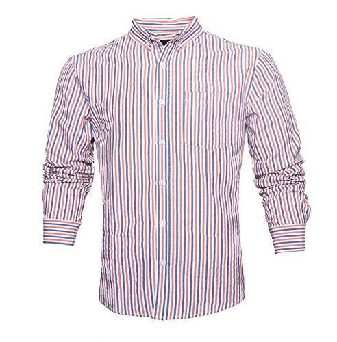 GILBETI Men's Long Sleeve Striped Oxford Shirt Button Down Cotton Dress Shirts Orange (Madras Plain Front Short)