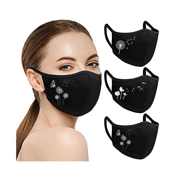 riou-3-Stck-Damen-Mundschutz-Waschbar-Baumwolle-mit-Motiv-Atmungsaktiv-Mund-und-Nasenschutz-Stoff-Multifunktionstuch