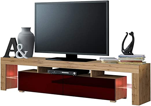 MEBLE FURNITURE & RUGS Mueble de TV Solo 200 Moderno con LED para ...