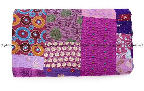 Sophia Art Handmade Vintage Patchwork King Size Home Decorative Kantha Reversible Quilt, Kantha Bedspread, Indian Blanket, Kantha Throw, Coverlet 90X108 inches (Purple)