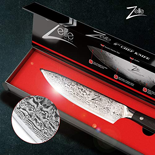 Zelite Infinity Chef Knife 8 Inch, Damascus Japanese AUS-10 Super Stainless Steel Blade Lasts a Lifetime, Sharpest…