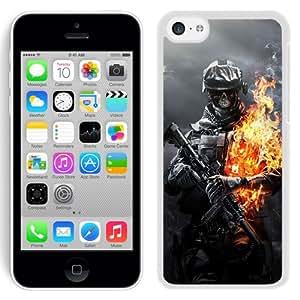 5C case,Battlefield Aviation Ammunition Skull Gun Fire White iPhone 5c cover