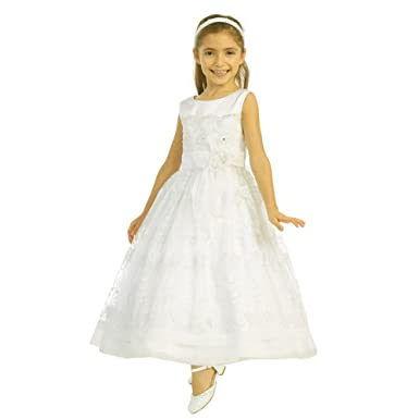a66a36b853ad Tip Top Kids Little Girls Ivory Satin Scallop Lace Organza Bow Flower Girl  Dress 4