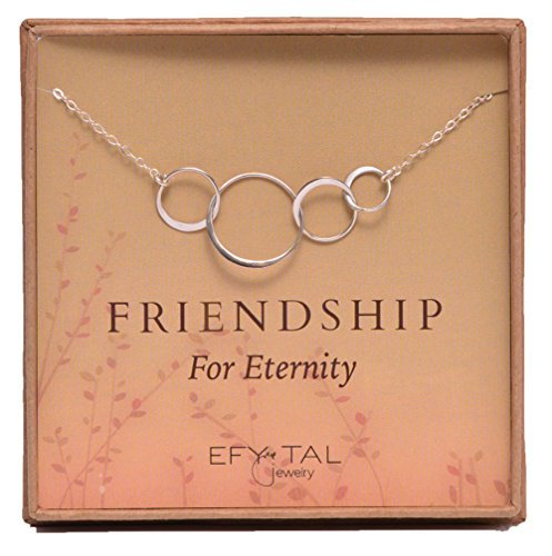 Four Friend Necklace Sterling Silver Friendship Interlocking Infinity Circles Gift 4 Best Friends Group 40th Birthday Present