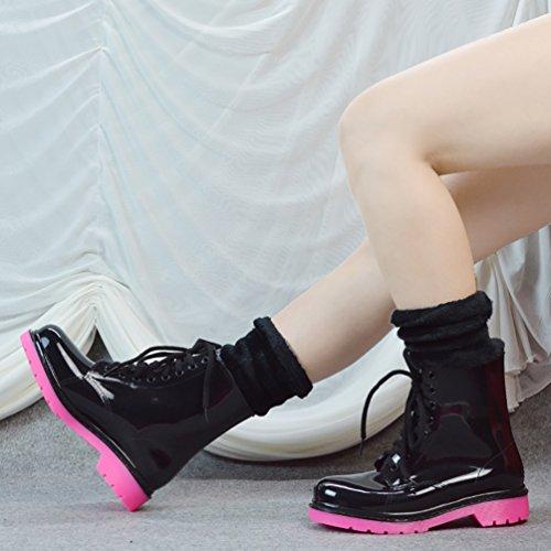 LvRao Señoras Botas Tobillo Alto Impermeable Invierno Nieve Lluvia Calentar Zapatos de Cordones Caucho Mujeres Botines de Goma Rojo Negro con Calcetines