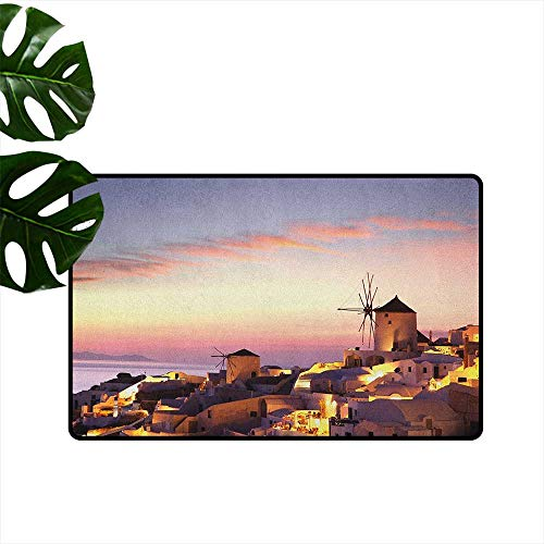 - Windmill,Floor Mats Famous Santorini Island in Greece Houses Evening View Architecture Village Image 31