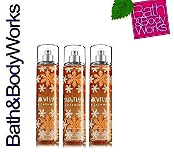 Bath Body Works SNOWFLAKES CASHMERE Lot of 3 Fine Fragrance Mist