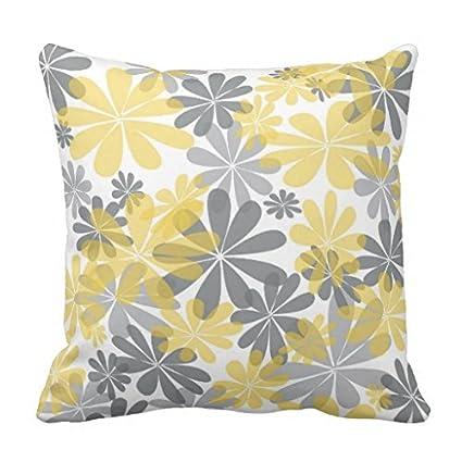 Amazon Modern Decorative Pillow Cover Canvas Yellow Gray Flower