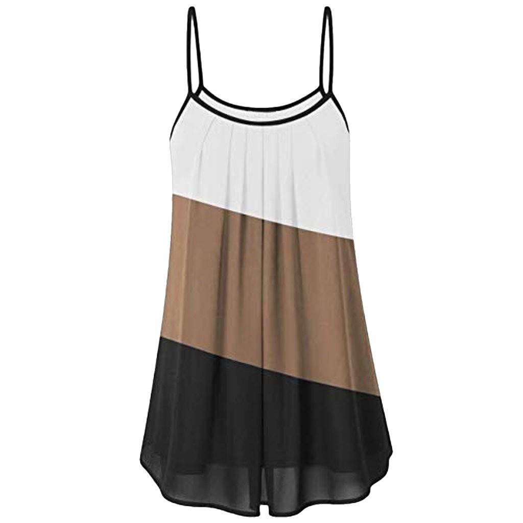 Tank Tops for Women Summer Loose Wrinkled Oblique Stripe Sleeveless Vest Blouse Casual T Shirt Khaki