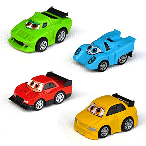 Tianmei Children's Pull Back Mini Cartoon Super Race Car Styling Alloy Diecast Vehicle Models Collection Set Kids Toys for Boys and Girls (includes 4 cars - Racer) -