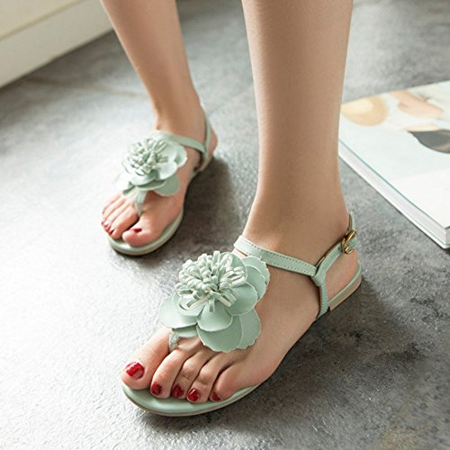 Fashion Women COOLCEPT Sandals Ankle Flat With Strap Slingback Green Flower Shoes Sfwxqq75