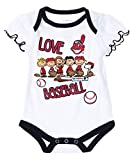 MLB Cleveland Indians Baby Girls Infants Peanuts Love Baseball Creeper, White