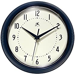 Infinity Instruments 9.5 inch Blue Wall Clock Round Retro