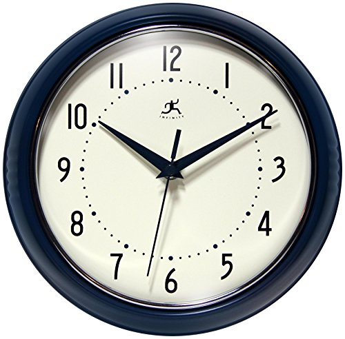 Cat Wall Clock Metal (Infinity Instruments Round Retro 9.5 Inch Wall Clock, Blue)