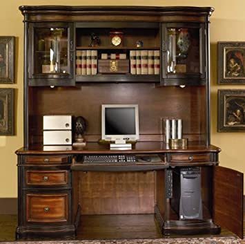 Amazon Com Home Office Computer Desk With Hutch In Two Tone Warm