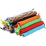 12 Pairs No Tie Curly Shoelaces Elastic Shoe Lace for Kids and Adults (Multicolor) (Color: Multicolor, Tamaño: Medium)