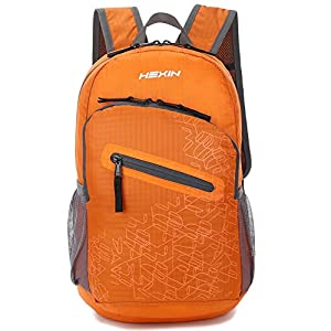 Unisex Foldable Lightweight Packable Waterproof Mini Travel Backpack Handy Daypack 20L(Orange)