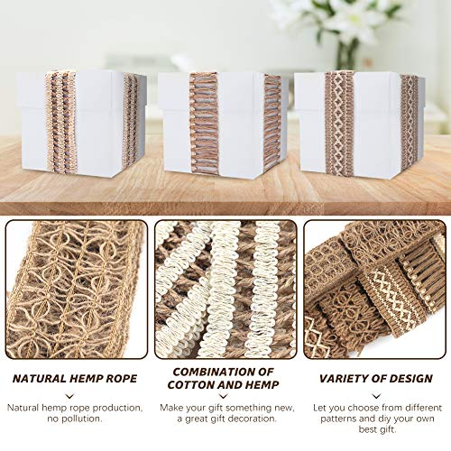 VGOODALL 7 Pack Jute Ribbons,Lace Craft Ribbon Burlap 14 Meters for Crafts Wraping Gifts Party Holiday and Rustic Wedding Decorations