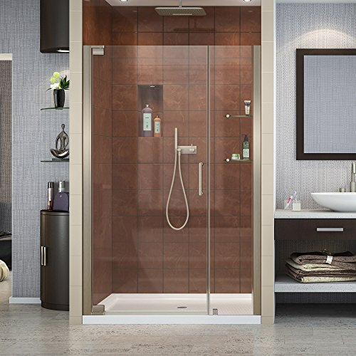 (DreamLine Elegance 46-48 in. W x 72 in. H Frameless Pivot Shower Door in Brushed Nickel, SHDR-4146720-04 )