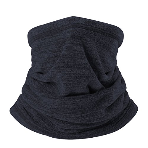 JIUSY Soft Fleece Neck Gaiter Warmer Face Mask Cover for Cold Weather Gear Winter Outdoor Sports Snowboard Skiing Cycling Motorcycle Hunting Fishing Suitable Men Women AA-C-02 Dark Blue