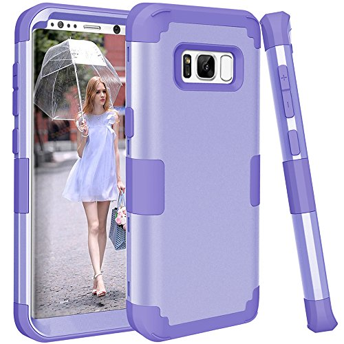 Galaxy S8 Case, KAMII 3in1 [Shockproof] Drop-Protection Hard PC Soft Silicone Combo Hybrid Impact Defender Heavy Duty Full-Body Protective Case Cover for Samsung Galaxy S8 (Light Purple) - Samsung Galaxy Light Cases Anchor