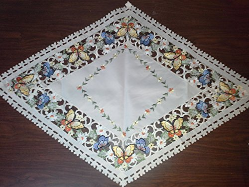 Diamond Table Runner Embroidered with Multi-Color Butterflies on Ivory Material, Size 47 x 27 (Butterflies Dresser Scarf)