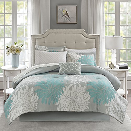 Madison Park Essentials Maible Comforter Reversible Solid Flower Floral Printed Ultra Soft Down Alternative Hypoallergenic Microfiber with Cotton Sheets All Season Bedding-Set, Cal King, Aqua ()