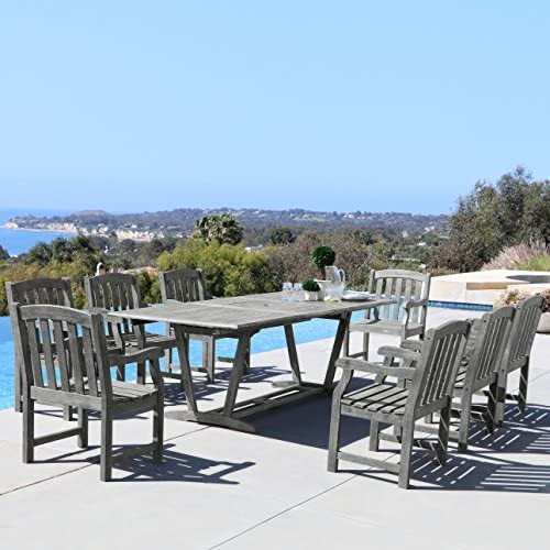 Vifah Renaissance Outdoor 9-Piece Hand-Scraped Wood Patio Dining Set