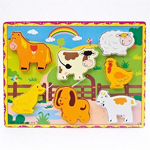 Qiyun 3D Wooden Animal Vehicle Fruits Geometrical Cartoon Educational Puzzle Jigsaw style:Farm animals, C