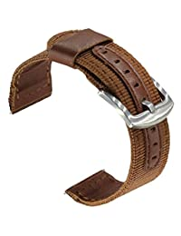 OTOPO 24mm Watch Bands, Nylon Woven with Leather Wrist Band Bracelet Strap for Suunto Core Watch, Suunto TRAVERSE and other watches with 24mm lug Smartwatch (Nylon+PU Leather Brown, 24mm)