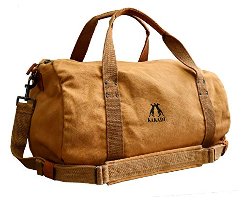 - Kakadu Clearance Weekend Travel Bag Duffle Tote Bags-Leather Trim Canvas Overnight Bag