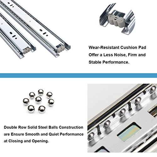 """KINGO Home 2 Pair of 18 inch Full Extension Stainless Steel Hardware Ball Bearing Side Mount Drawer Slides, Available in 10'' 12'' 14'' 16'' 18"""" 20"""" Lengths by KINGO HOME (Image #4)"""