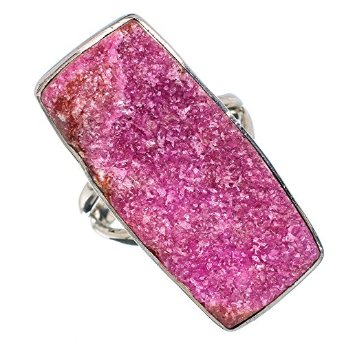 Cobalto Calcite Druzy Ring Size 8 (925 Sterling Silver) - Handmade Jewelry RING879244