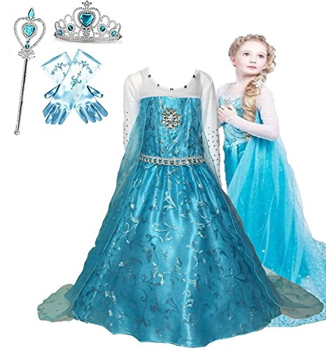 Ice Queen Glitter Princess Dress for Girls