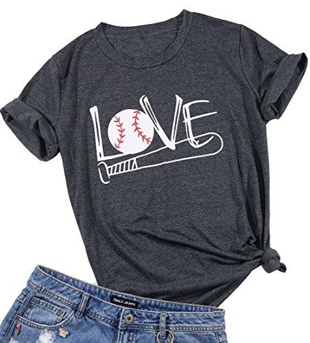 Women Love Baseball Bat T-Shirt Short Sleeve Casual Blouse Tee Top Size S (Gray)