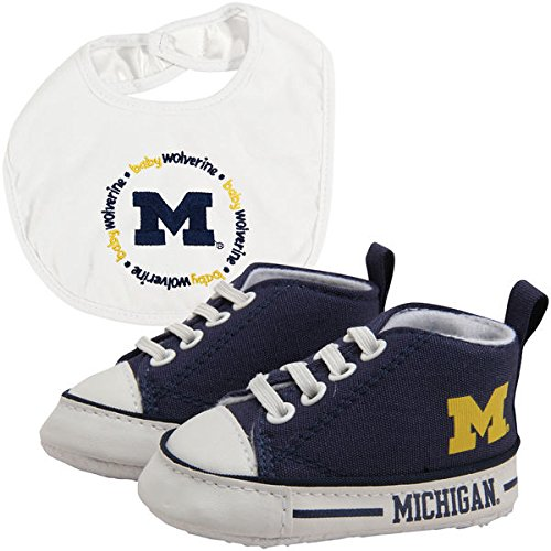 NCAA College Team Infant Baby Gift Set - Bib & Pre-Walker High Top Shoe Set - Pick Team! (Michigan -