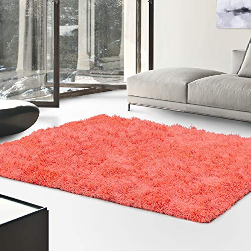 - Superior Textured Shag Area Rug, Spiced Coral, 6' x 9'